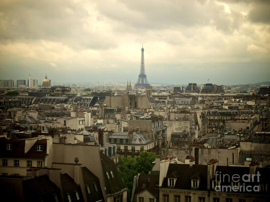 Eiffel Tower And Roofs Of Paris. France.europe. Photograph