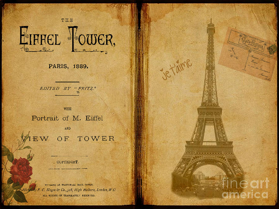 Eiffel Tower Antique Book Digital Art