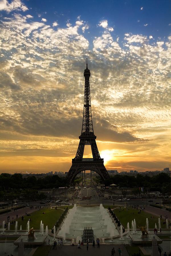 Eiffel Tower At Sunset Photograph
