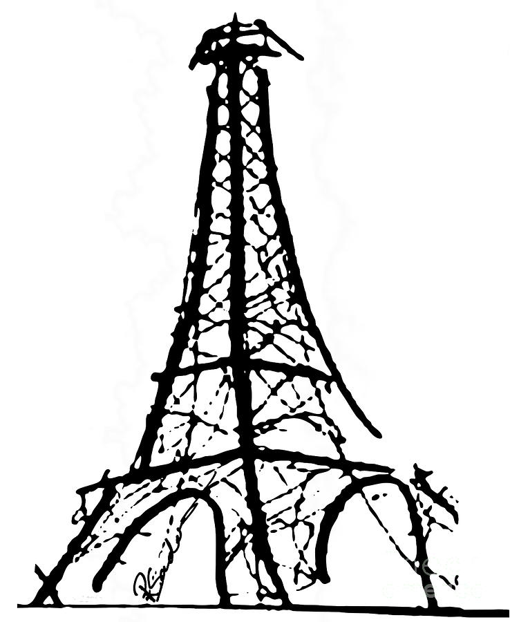 Eiffel Tower Black And White Painting