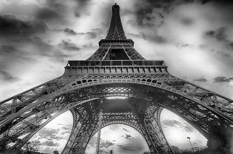 Eiffel Tower Images Black And White: Eiffel Tower Black And White With Clouds Photograph By