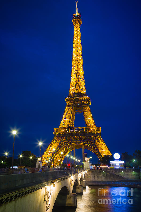 Eiffel Tower By Night Photograph  - Eiffel Tower By Night Fine Art Print