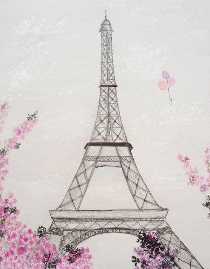 Eiffel Tower  Drawing  - Eiffel Tower  Fine Art Print