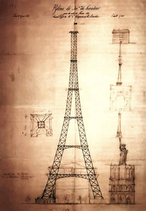 Eiffel Tower Design Drawing  - Eiffel Tower Design Fine Art Print