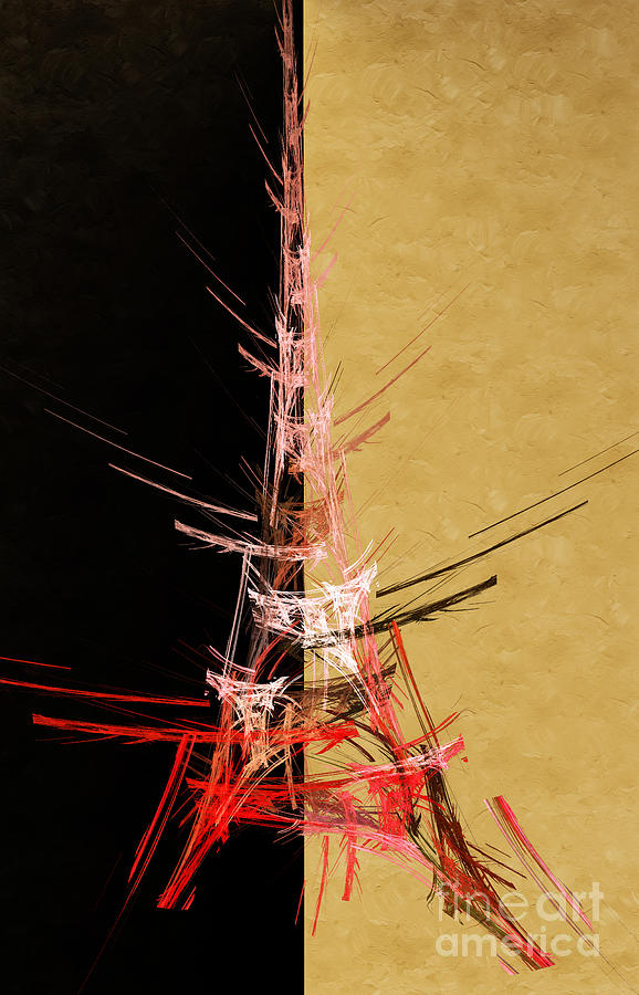 Eiffel Tower In Red On Gold  Abstract  Digital Art