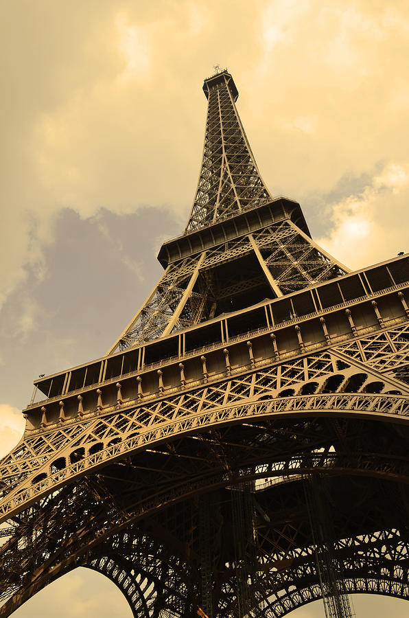 Eiffel Tower Paris France Sepia Photograph