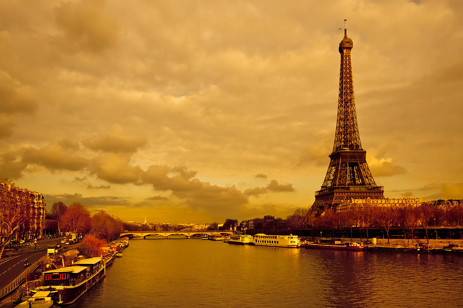 Eiffel Tower Rising Over The Seine Photograph