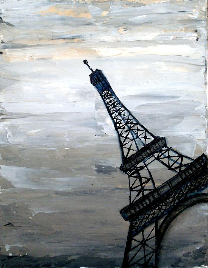 Eiffel Tower Silhouette Painting  - Eiffel Tower Silhouette Fine Art Print