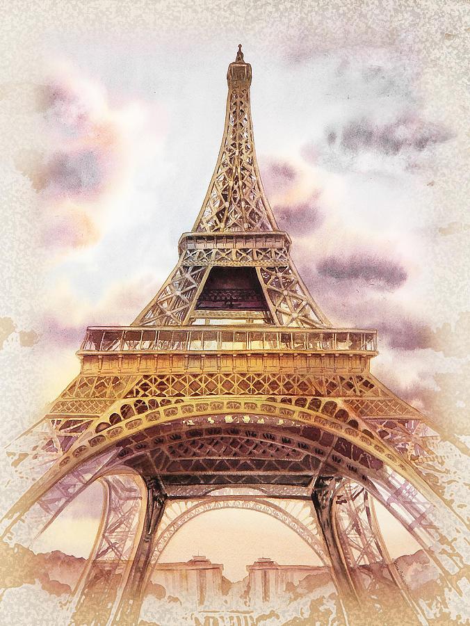 Vintage paris shower curtain - Vintage Painting Eiffel Tower Vintage Art By Irina Sztukowski