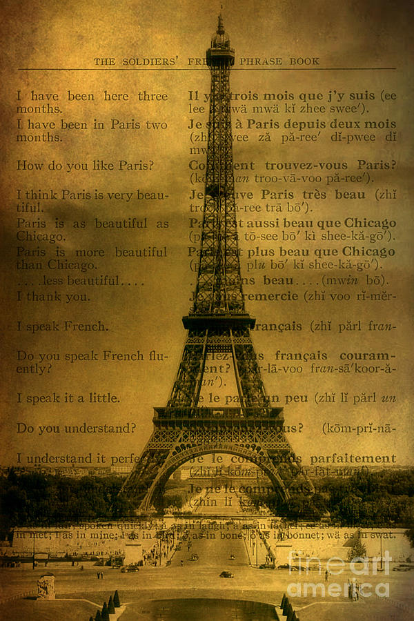 Eiffel Tower Vintage Postcard Digital Art