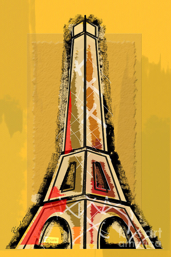 Eiffel Tower Yellow And Red Digital Art