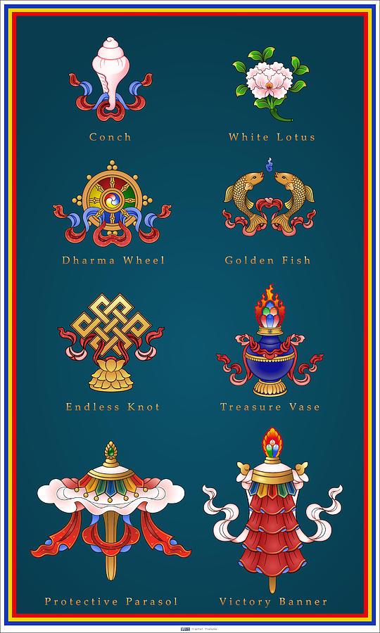 Snap Eight Auspicious Symbols Tibetan Buddhism Symbols Snowlion