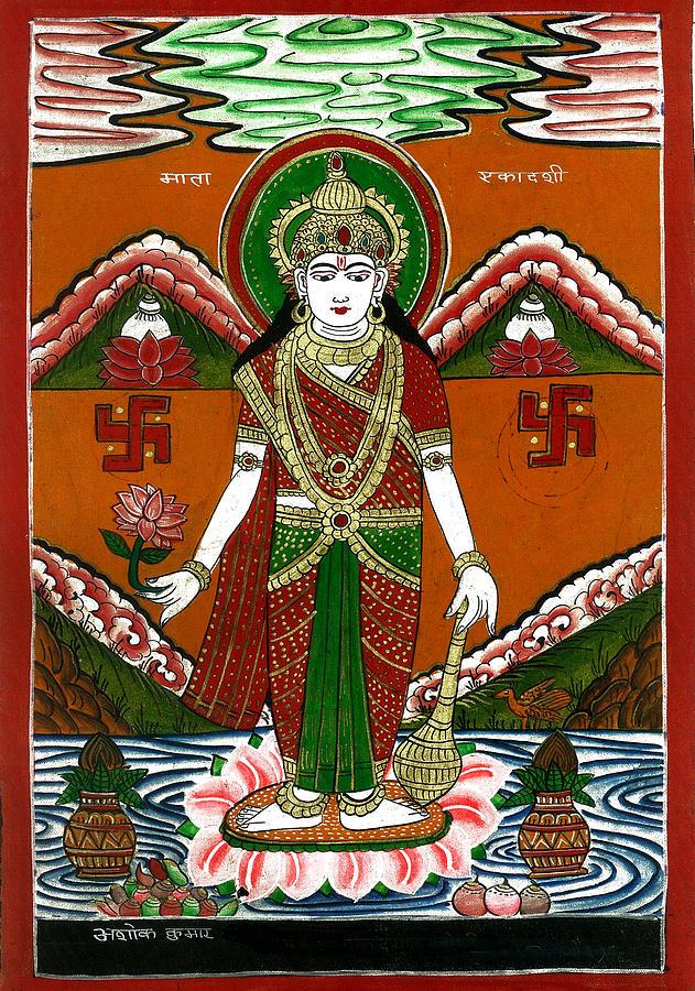 Incarnation Painting - Ek Darshi Mata Vishnu Avatar by Ashok Kumar