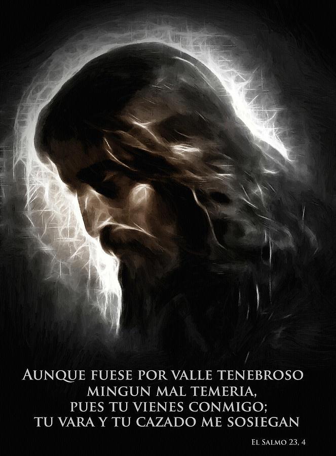 Pastor Jesus Cristo Biblia Salmo Mal Muerte Personal Varilla Miedo Agood Valle Rezo Painting - El Buen Pastor by Stefan Kuhn