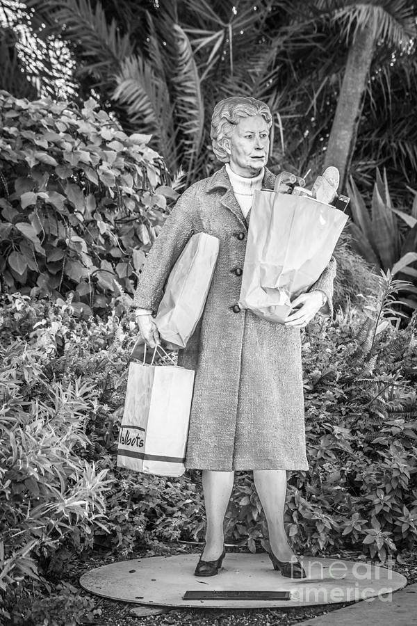Elderly Shopper Statue Key West - Black And White Photograph