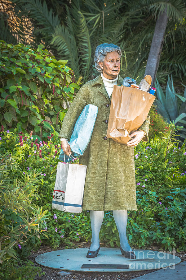 Elderly Shopper Statue Key West - Hdr Style Photograph