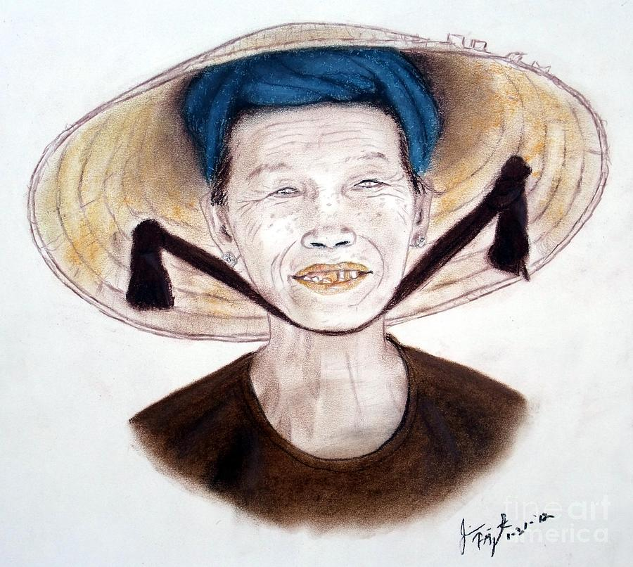 Elderly Vietnamese Woman Wearing A Conical Hat Drawing