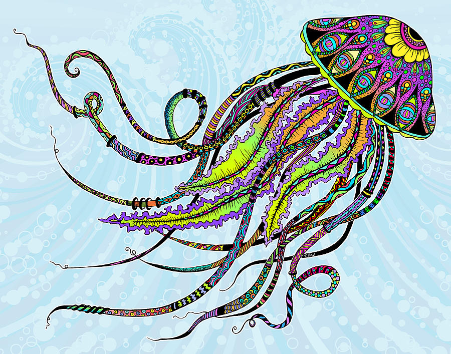 Electric jellyfish drawing by tammy wetzel for Jelly fish art