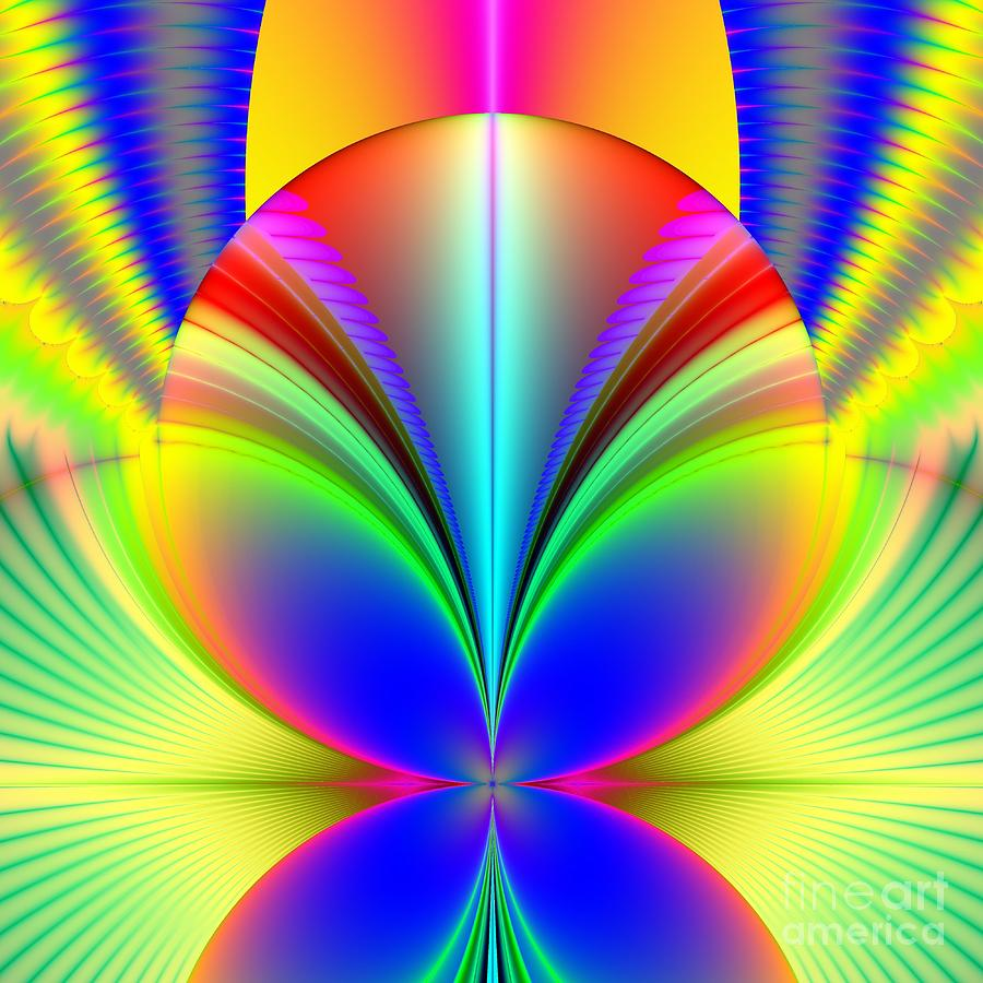 Electric Rainbow Orb Fractal Digital Art