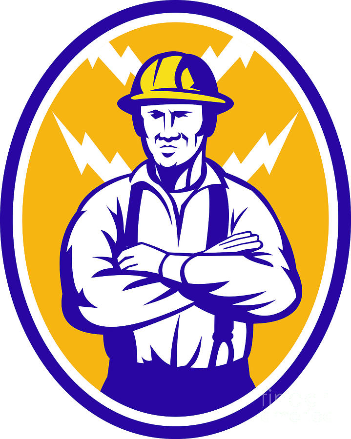 Electrician Construction Worker Lightning Bolt Digital Art  - Electrician Construction Worker Lightning Bolt Fine Art Print
