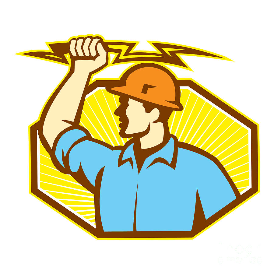 Electrician Wielding Lightning Bolt Digital Art  - Electrician Wielding Lightning Bolt Fine Art Print