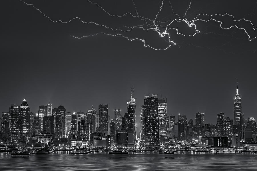 Electrifying New York City Bw Photograph