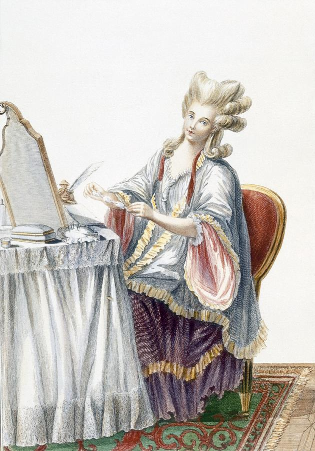 Elegant Lady At Her Dressing Table Drawing
