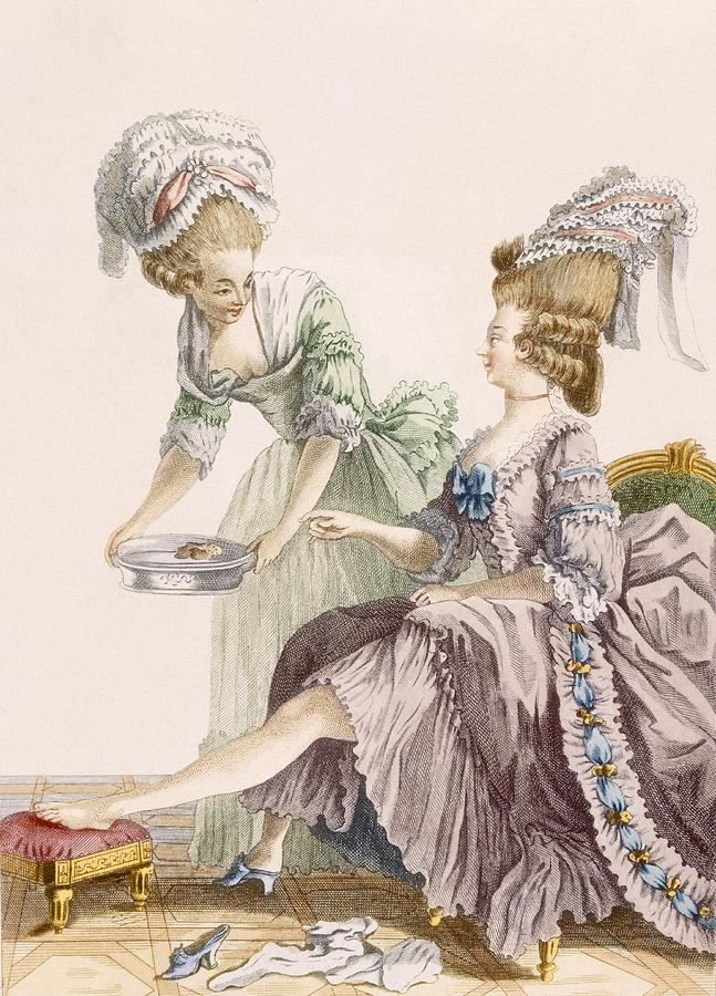 Elegant Lady Having Her Feet Washed Drawing