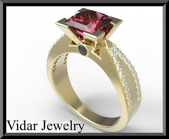 Elegant Red Ruby And Diamond 14k Yellow Gold Engagement Ring Jewelry