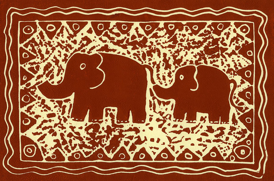 Elephant And Calf Lino Print Brown Mixed Media  - Elephant And Calf Lino Print Brown Fine Art Print