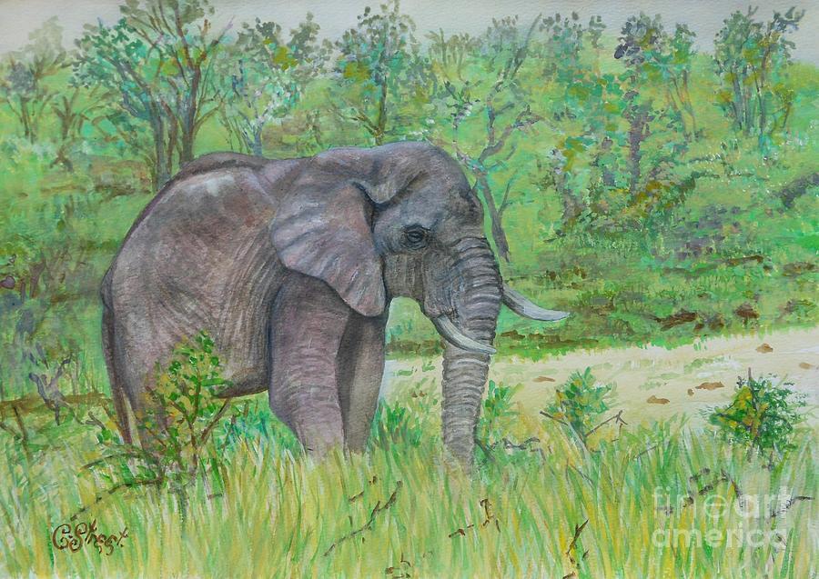 Elephants Painting - Elephant At Kruger by Caroline Street