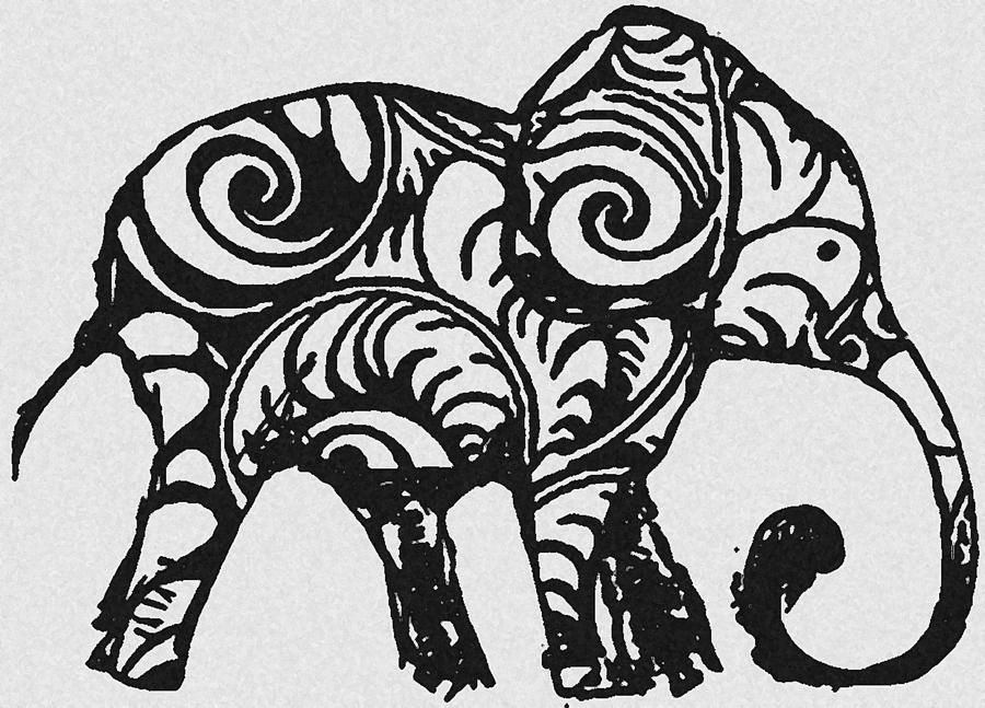 Elephant Black And White is a drawing by Ellsbeth Page which was ...