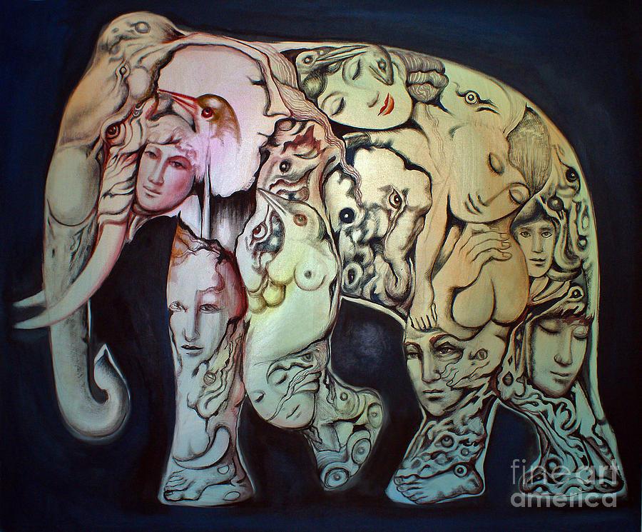 Thai Elephants Paintings Painting - Elephant by Kritsana Tasingh