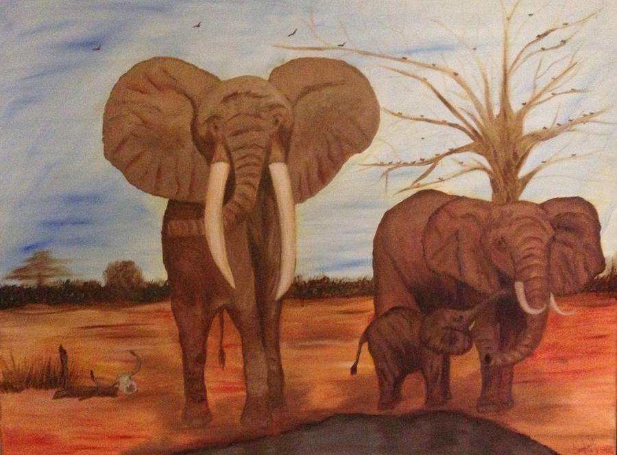 Elephant Love Painting by Angelia Young - photo#12