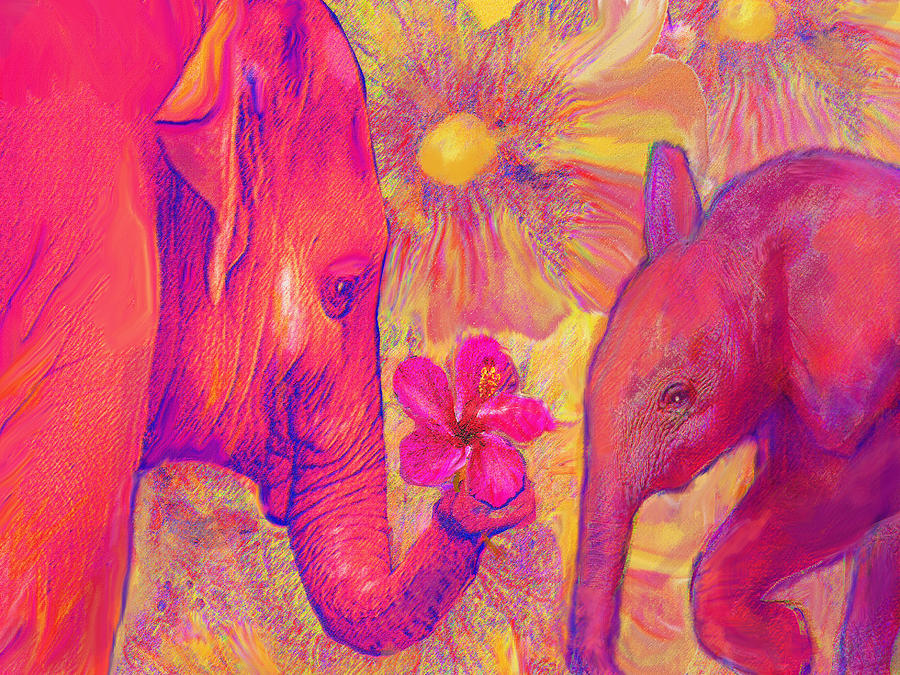 Elephant Love Digital Art