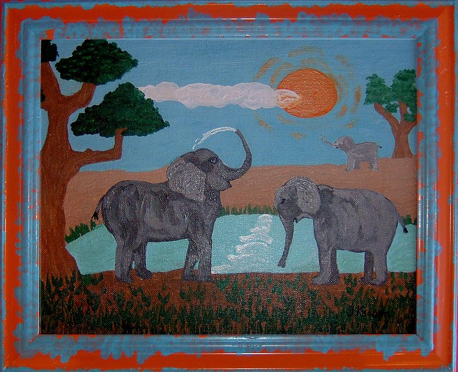 Elephant Painting - Elephant Paradise  by Yvonne  Kroupa