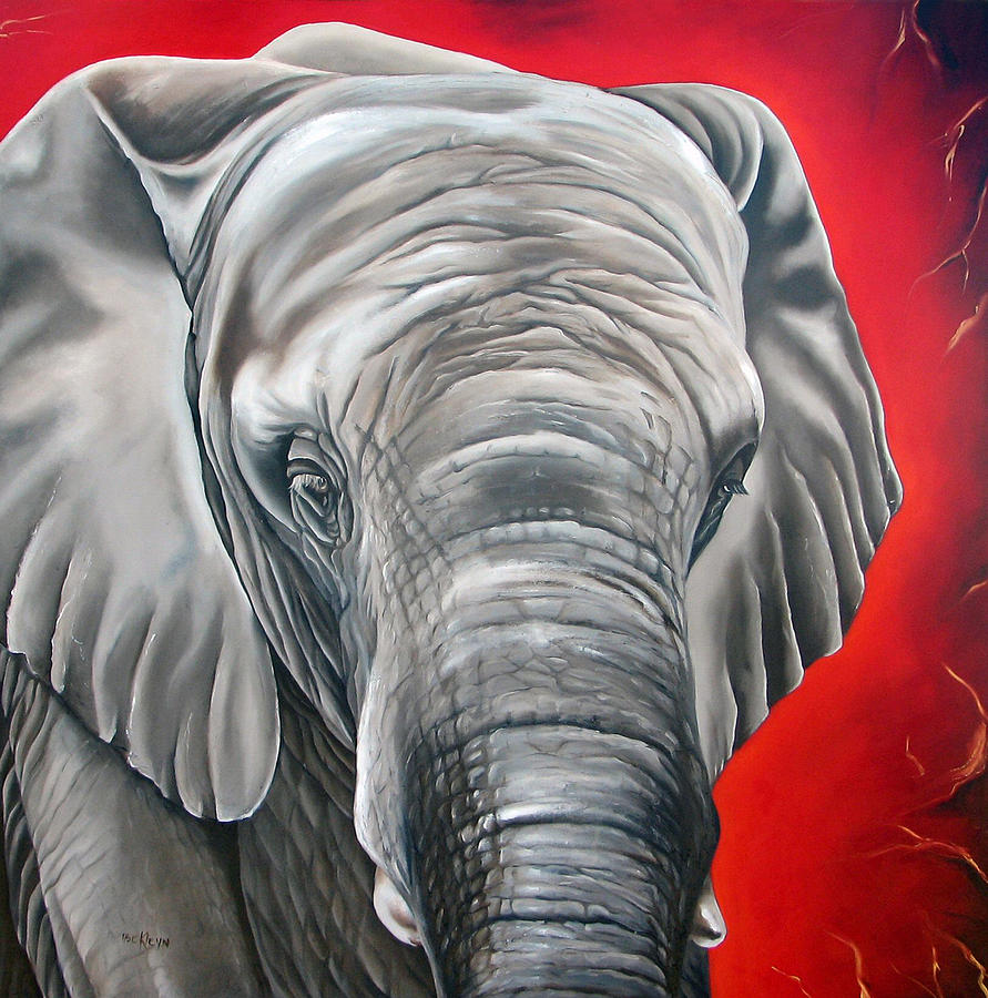 Elephant Six Of Eight Painting  - Elephant Six Of Eight Fine Art Print