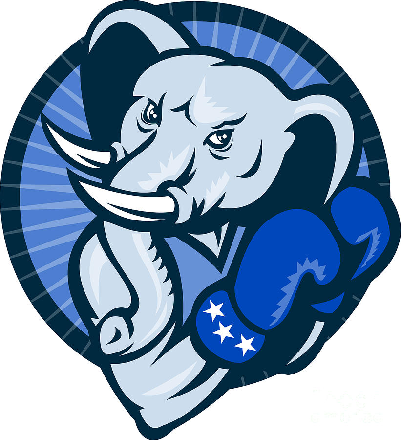 Elephant With Boxing Gloves Democrat Mascot Digital Art  - Elephant With Boxing Gloves Democrat Mascot Fine Art Print