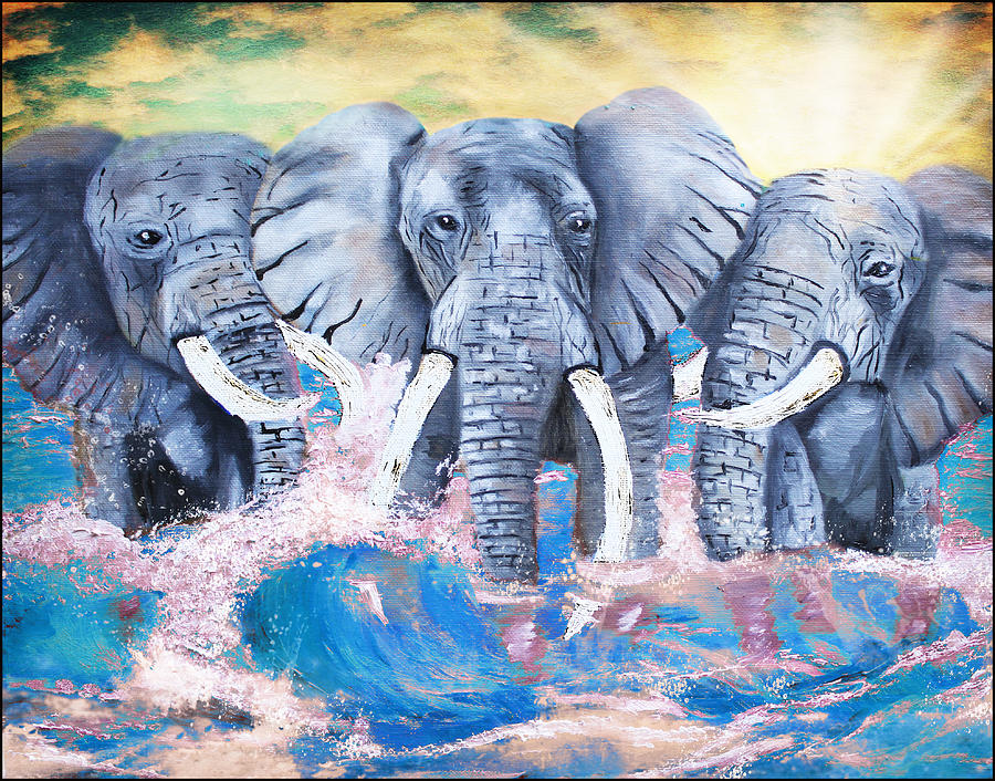 Elephants In The Tide Painting  - Elephants In The Tide Fine Art Print