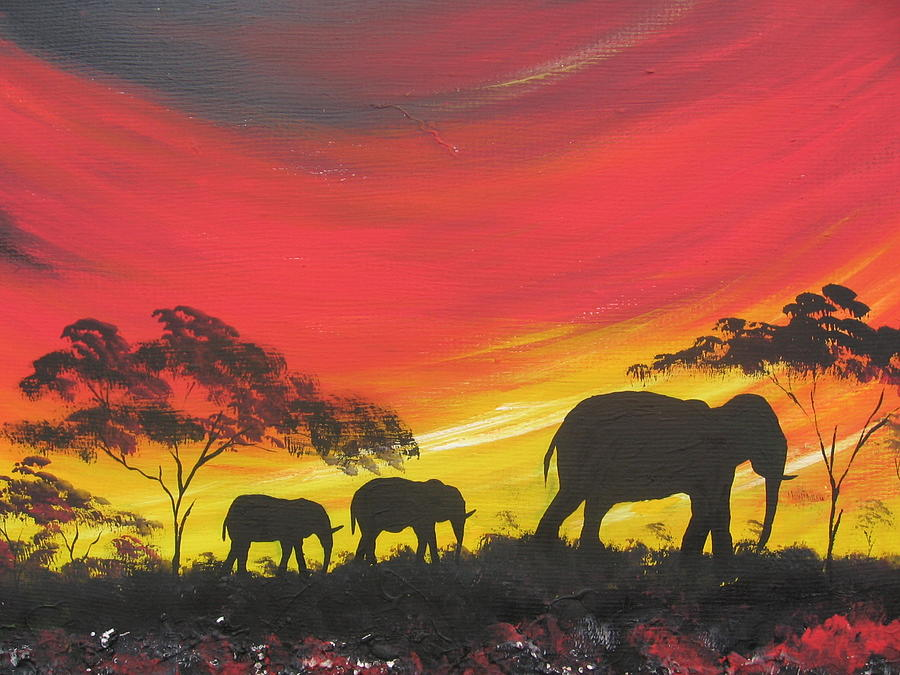 Elephants On Sunset Painting