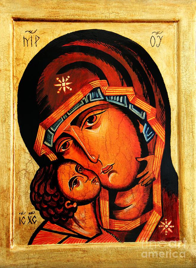 Eleusa Icon Painting - Eleusa Icon by Ryszard Sleczka