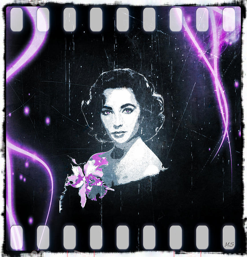 Elizabeth Taylor - Purple Film Digital Art