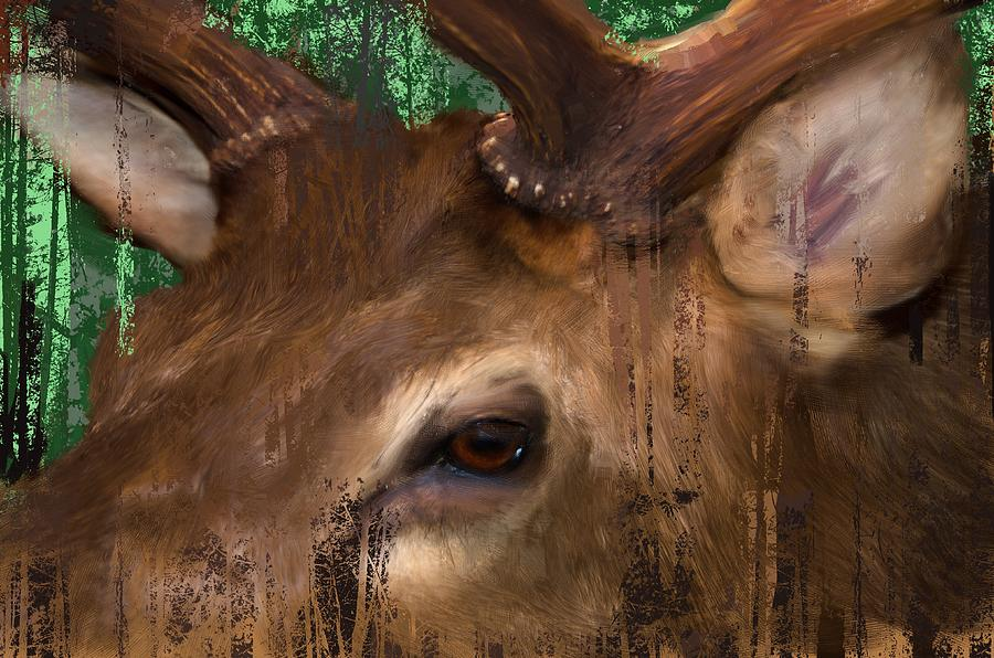 Elk In The Trees is a piece of digital artwork by Debra Baldwin which ...