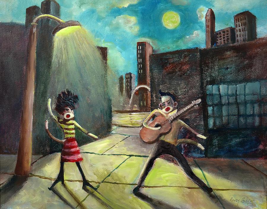 Elvis And Phyllis Diller Meet In St. Louis On A Moonlit Night As Sock Monkeys Painting
