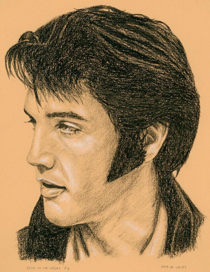Elvis Drawing - Elvis Las Vegas 69 by Rob De Vries