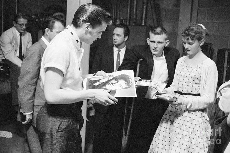 Elvis Presley Backstage Signing Autographs For Fans 1956