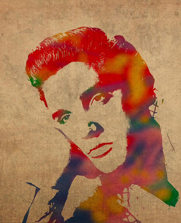 Elvis Presley Watercolor Portrait On Worn Distressed Canvas Mixed Media