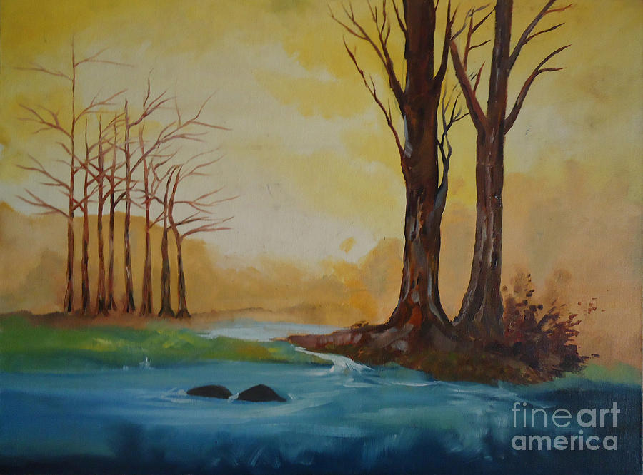 Landscape Painting - Emerging Light Of Hopes by Jnana Finearts