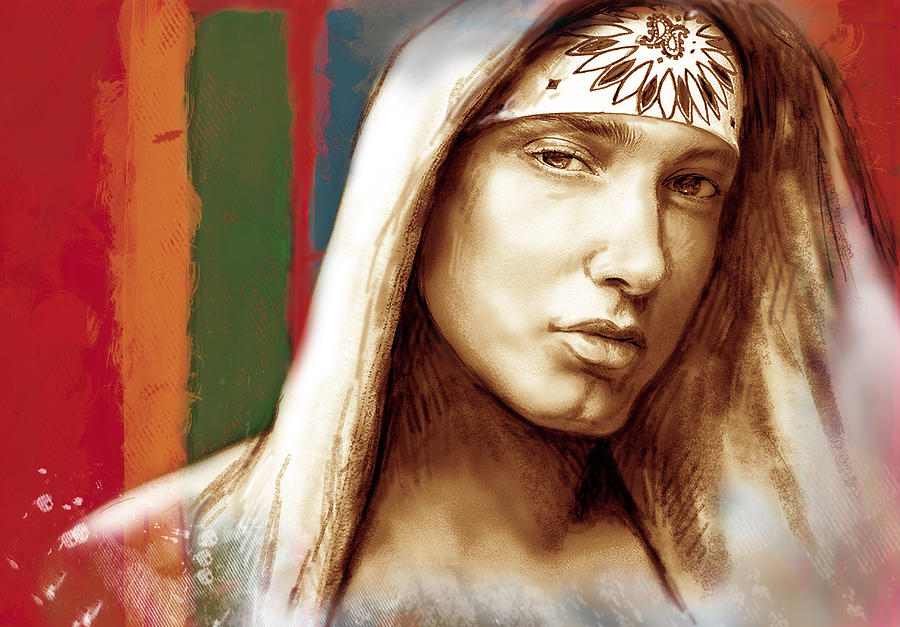 Art Drawing Sharcoal.ketch Portrait  Drawing - Eminem - Stylised Drawing Art Poster by Kim Wang
