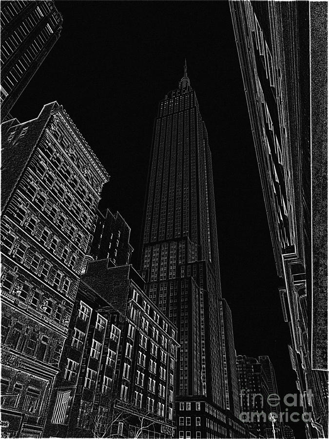 Empire State Building Drawing - Empire Nyc White On Black by Meandering Photography